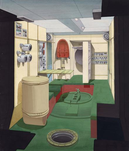 Design for the cabinet of the space station Mir, final version interior design (1980) \\ © Archiv Galina Balaschowa